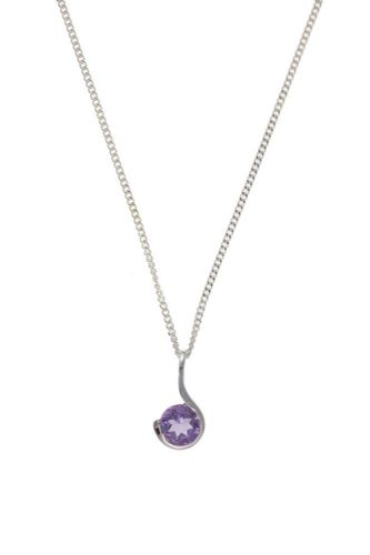 Amethyst round silver necklace